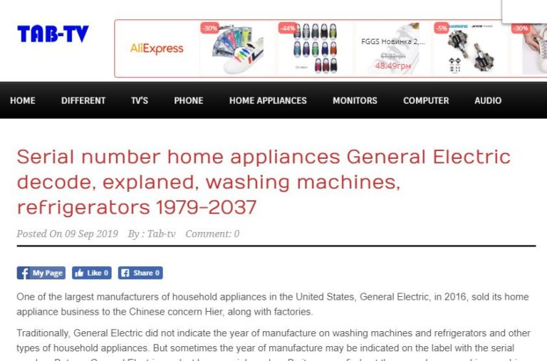 Serial number home appliances General Electric decode, explaned, washing machines, refrigerators 1979-2037