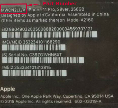 What does Part Number mean in Apple iPhone, iPad, iPod products