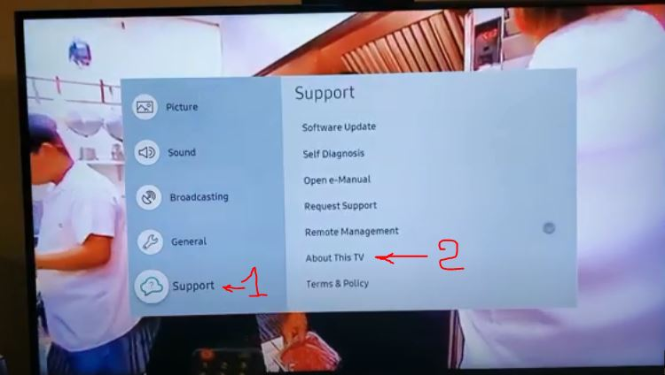 How to find the model number and serial number of your Samsung TV