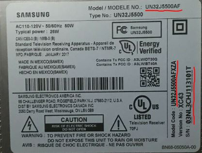 Samsung TV information sticker