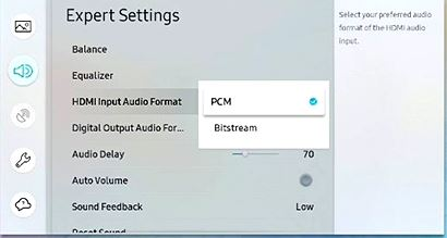 HDMI input audio format selected with dedicated PCM